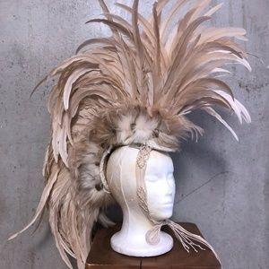 Large feather mohawk headdress custom made UNISEX